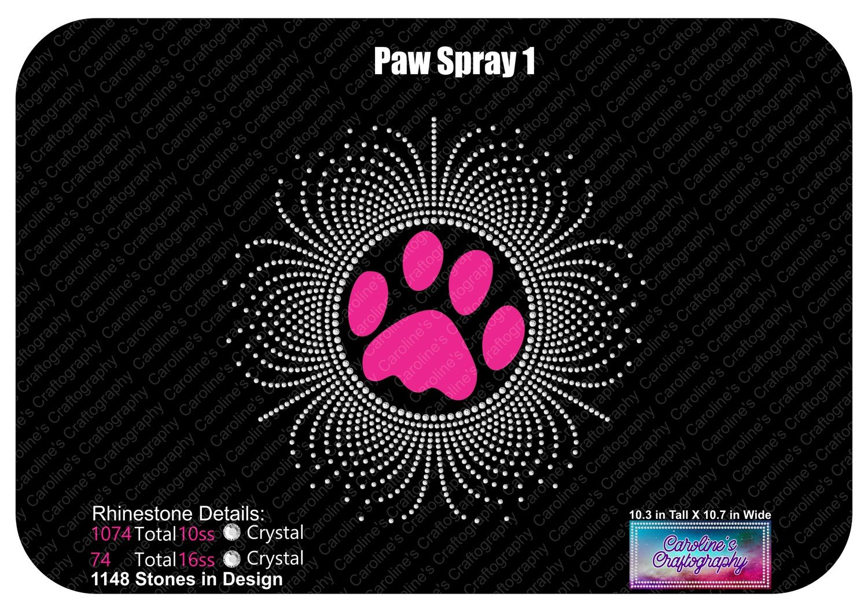 Paw Print Spray 1 Rhinestone