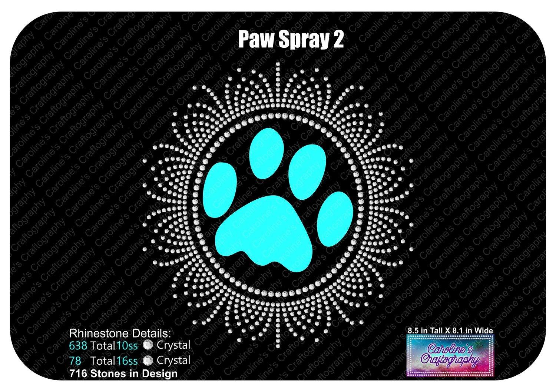 Paw Print Spray 2 Rhinestone
