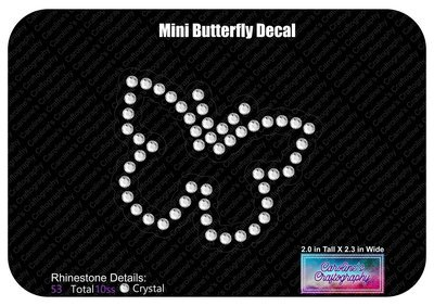 Mini Butterfly Rhinestone Decal