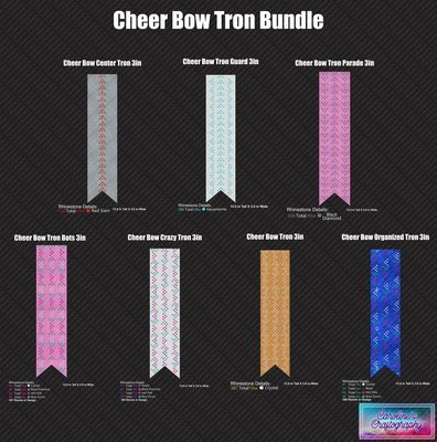 Cheer Bow Tron Bundle 3in Stone