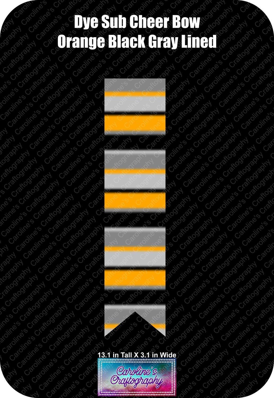 Halloween Orange Black and Gray lined Dye Sub Cheer Bow