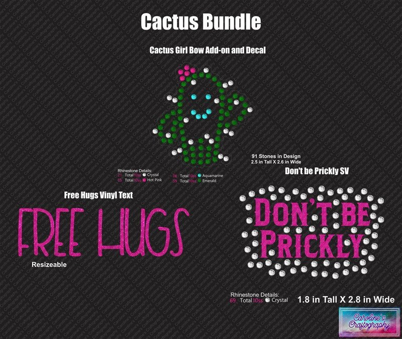 Cactus Girl Bundle Cheer Bow add-on Decals