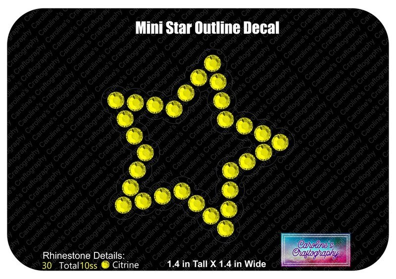 Mini Star Outline Decal Cheer Bow add-on 3D middle