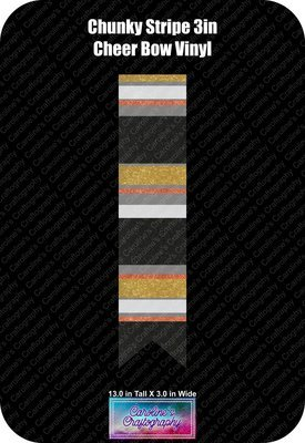 Cheer Bow Chunky Stripe 3in Vinyl
