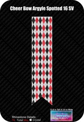 Cheer Bow Argyle 3in Spotted 16ss Rhinestone Vinyl