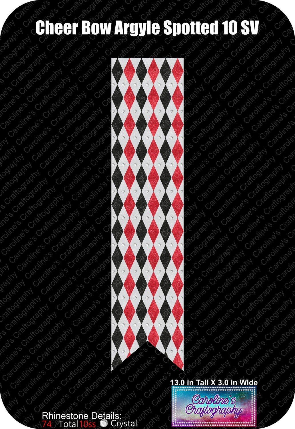 Cheer Bow Argyle 3in Spotted 10ss Rhinestone Vinyl