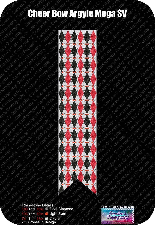 Cheer Bow Argyle 3in Mega Rhinestone Vinyl