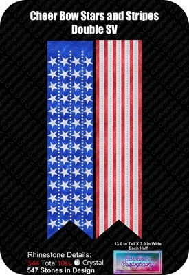 Cheer Bow Stars and Stripes Double Rhinestone Vinyl 3in