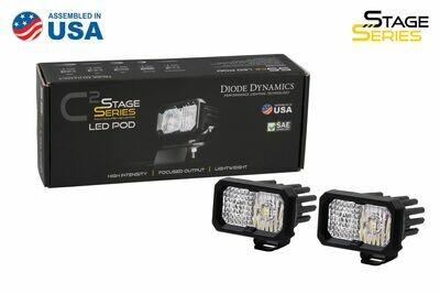 Diode Dynamics Stage Series C2 SAE/DOT White Pro Standard LED Pod (white back light, pair)
