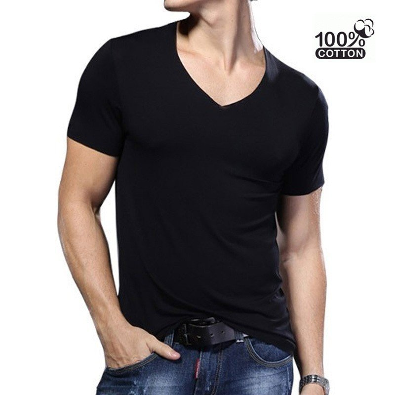 T-shirt Slim fit col-V - XL