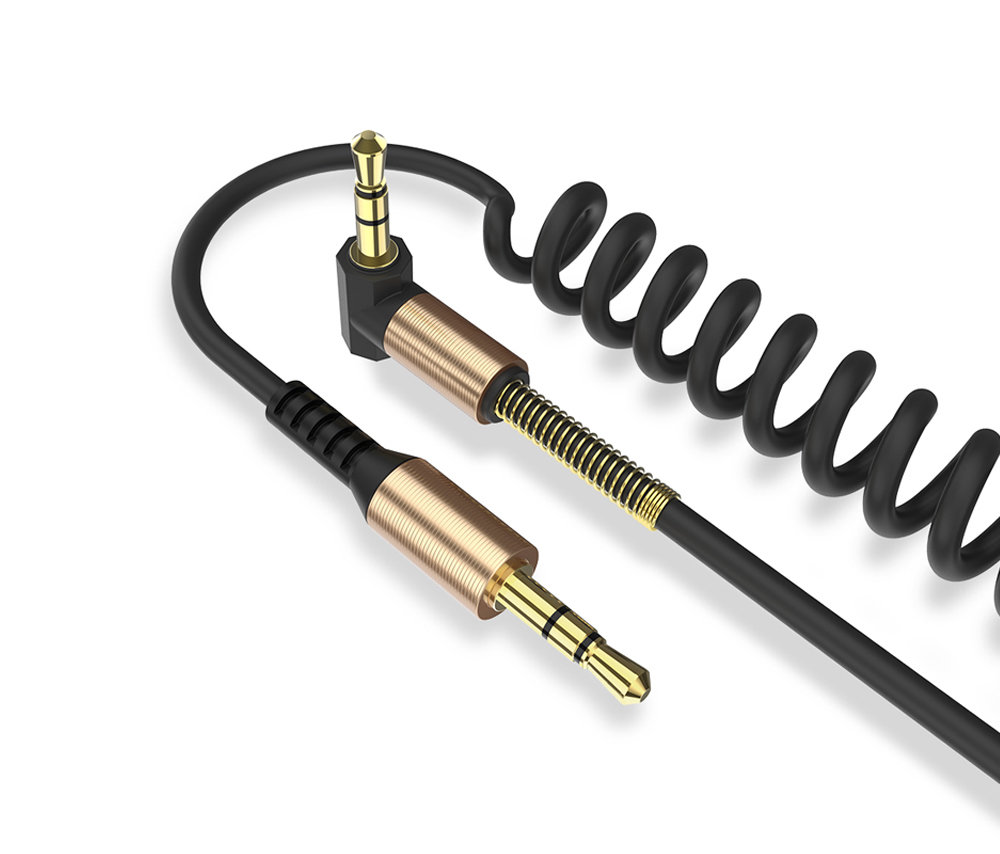 Câble flexible connecteur Jack Audio auxiliaire 3.5 mm Mâle vers Mâle - Noir