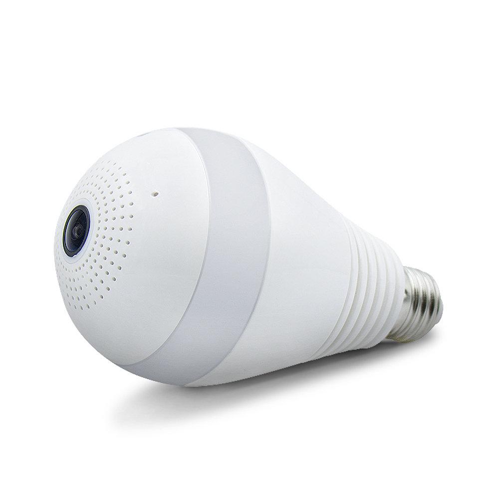 Caméra ampoule LED WiFi 2MP panoramique 360°, Support de carte mémoire 64GB