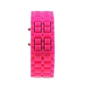 Montre braclet LED Femme + 1 gratuite - Rose foncé
