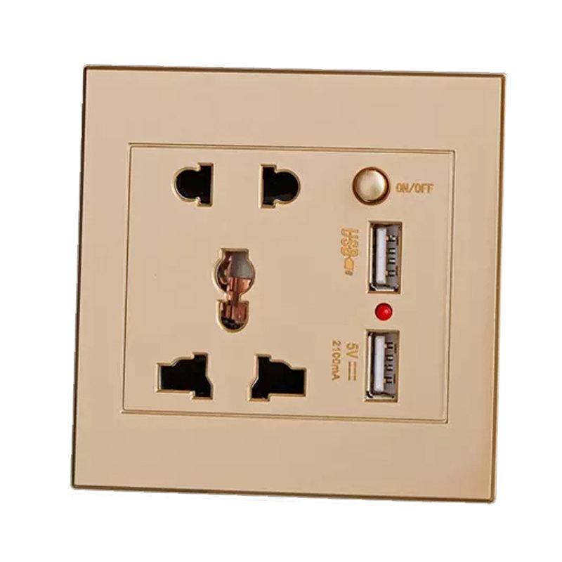 Prise mural Universelle avec 2 ports de recharge rapide USB - Gold