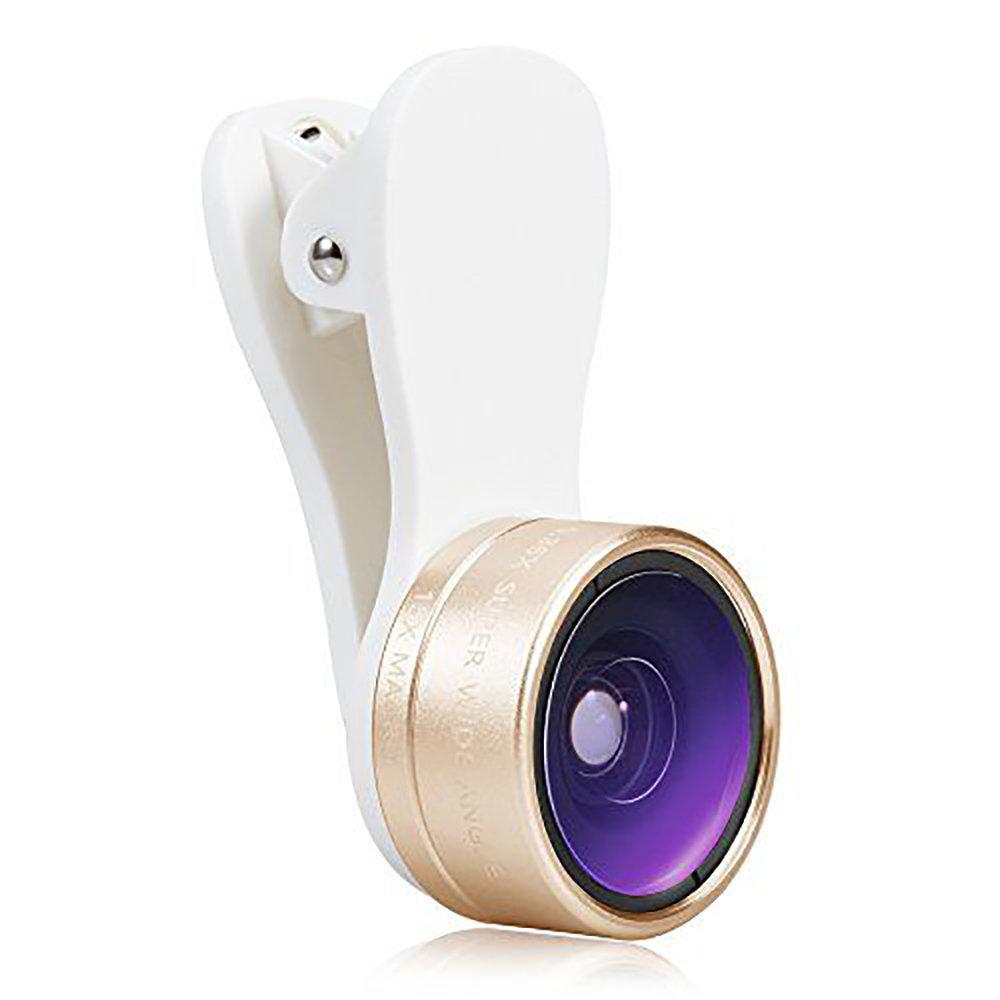 Kit de Lentille de caméra universel pour smartphone 3 en 1 - Doré