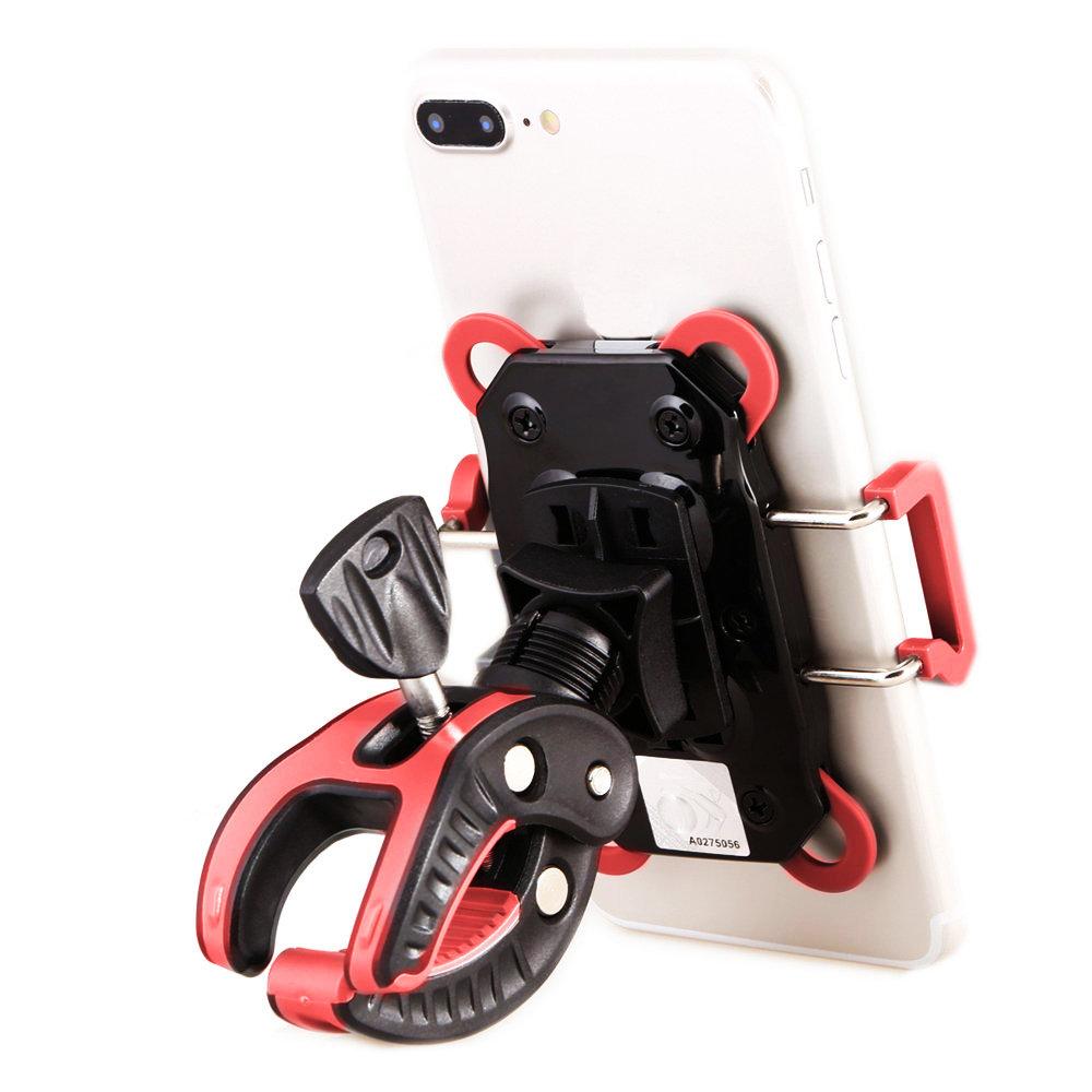 Support smartphone universel pour bicyclette et moto - Rouge & noir