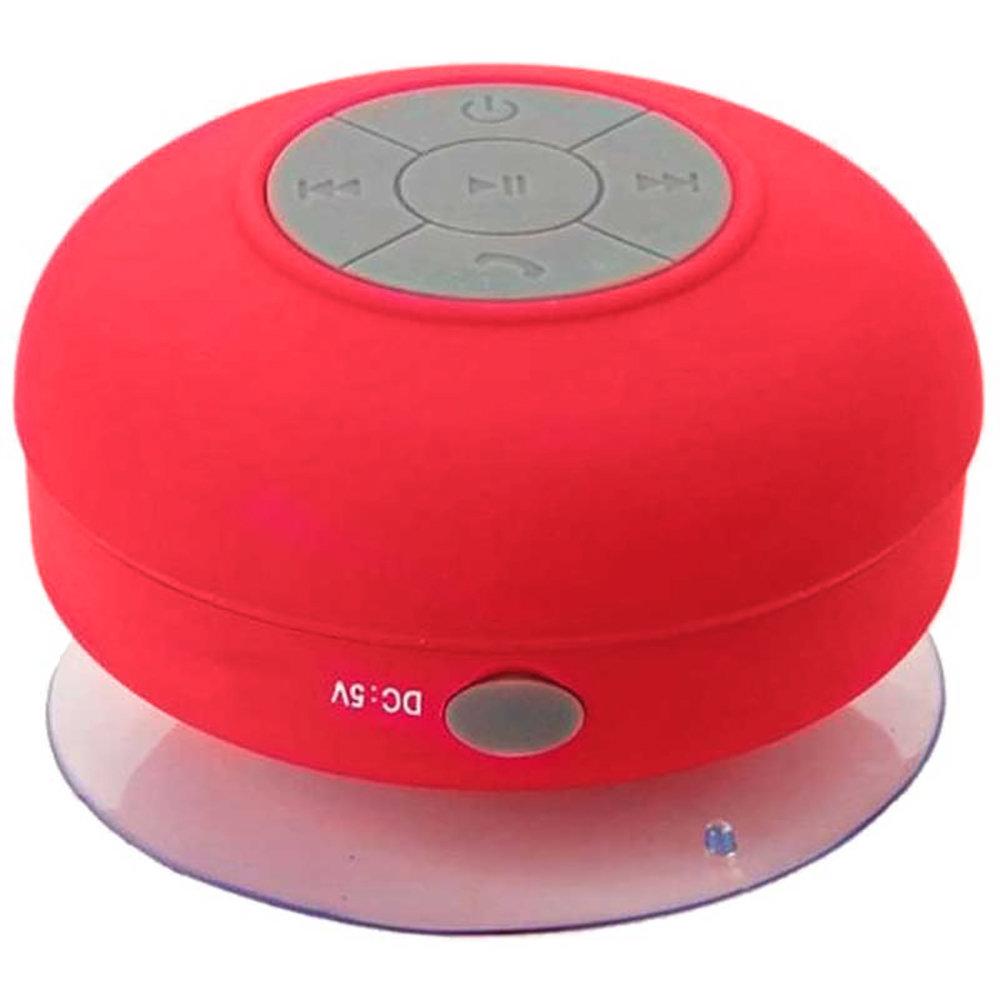 Mini haut-parleur Bluetooth étanche et rechargeable avec ventouse - Rouge