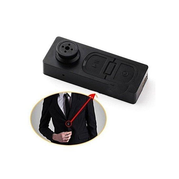Bouton espion noir HD camera cache