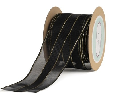 Black Sheer Checkered Centre Ribbon