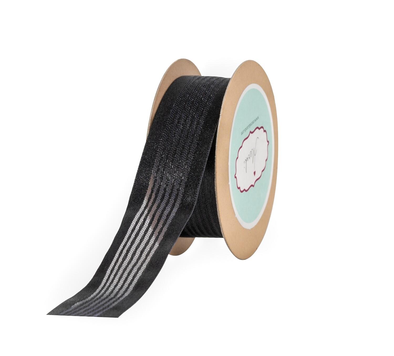 Black Satin  Stripes Ribbon