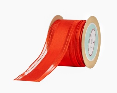 Red Sheer Ribbon with Grosgrain Centre