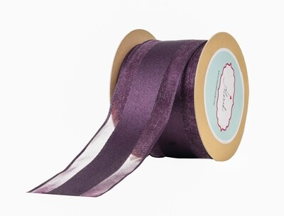 Plum Sheer Ribbon with Satin Centre