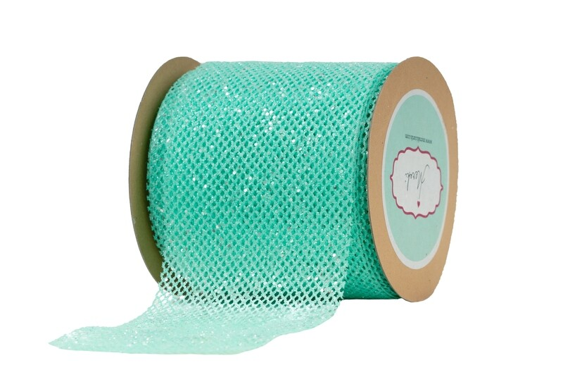 Aqua Net Ribbon with Glitter