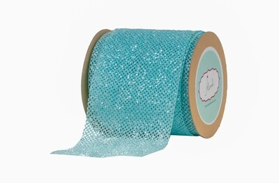 Light Blue Net Ribbon with Glitter