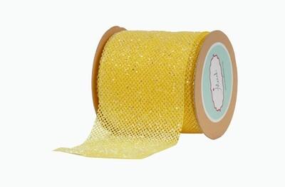 Yellow Net Ribbon with Glitter
