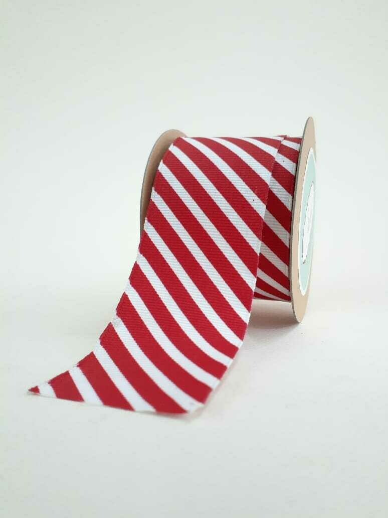 White Grosgrain with Red Diagonal Stripes