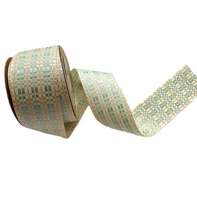 Ivory and Tiffany Green Checkered Ribbon