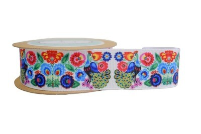 Peacock and Flowers Ribbon