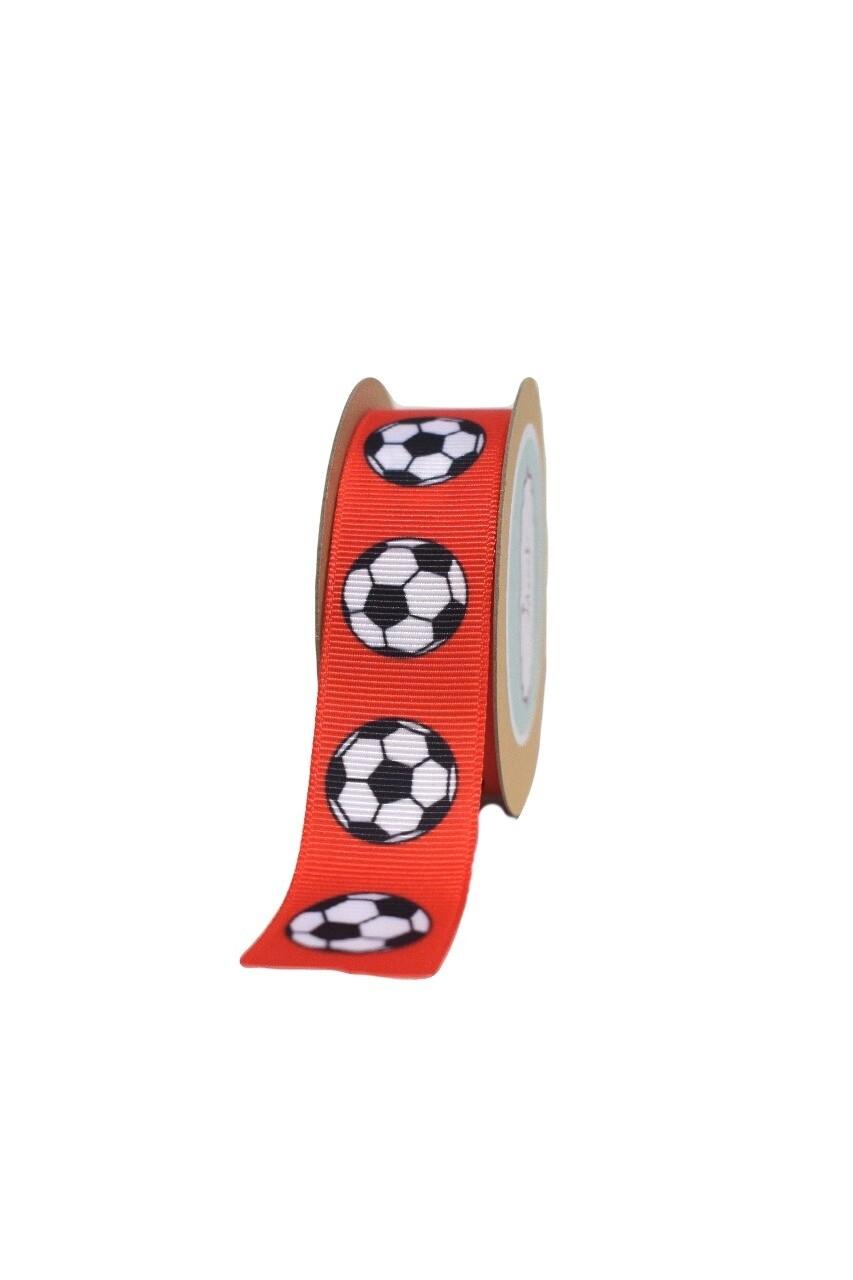 Red Football- Grosgrain ribbon