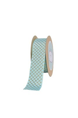 Aqua Grosgrain ribbon with Diagonal Squares