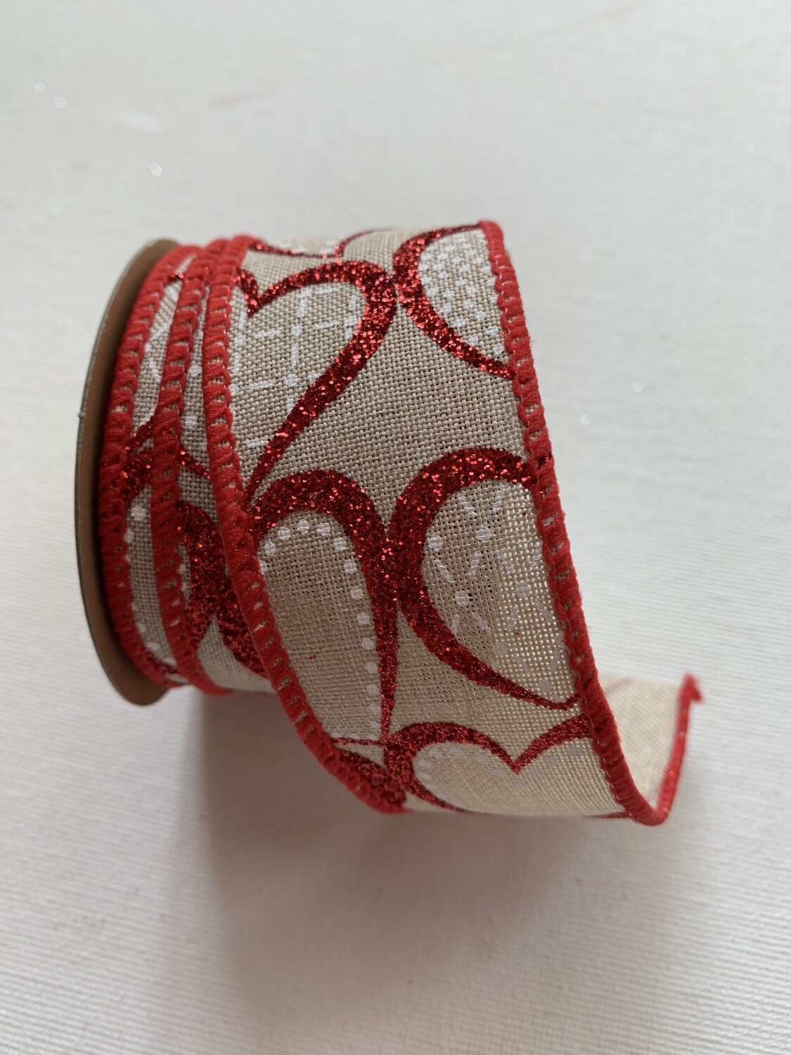 Faux Jute - Red glittery hearts wired ribbon
