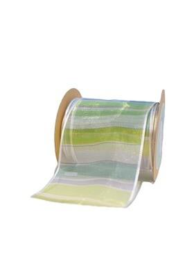 Shaded Green & lavender Stripes Ribbon