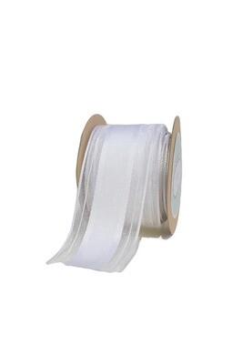 White Sheer Ribbon with Grosgrain centre