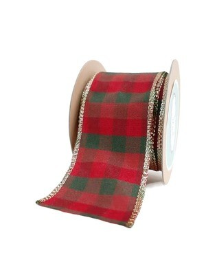Red & Green Plaid with Gold Trim