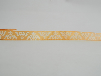 Peach Printed Ribbon with white Motif