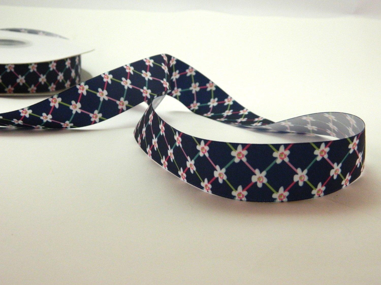 Navy Blue Satin Printed floral ribbon