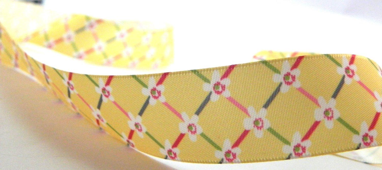 Yellow  Satin Printed Floral Ribbon