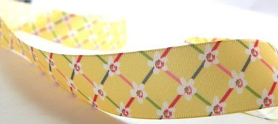 Yellow  Satin Printed Floral Ribbon