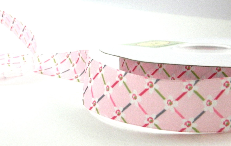 Pink Satin Printed Floral Ribbon
