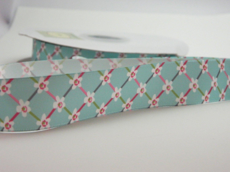 Green Printed Satin Floral Ribbon