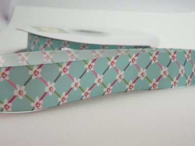 Green Printed Satin Floral Ribbon
