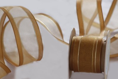 Wired - Gold Sheer with Woven Satin Edges