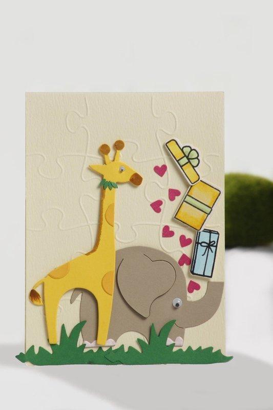 Baby Giraffe & Elephant Card