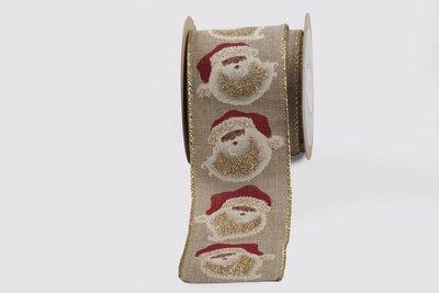 Faux Linen- Santa Print
