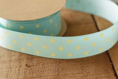 Aqua with Yellow Polka Dots