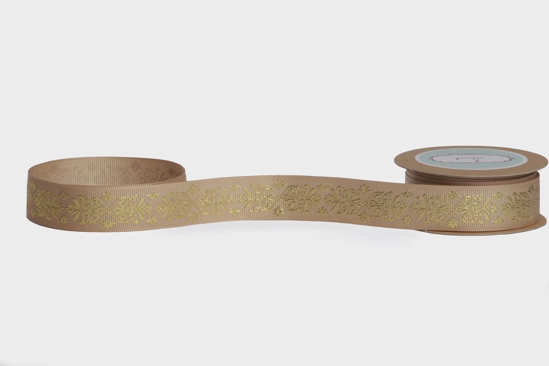 Desert Sand Gold Foiled Ribbon - Traditional Motif